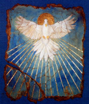 Wisdom is traditionally identified with the Holy Spirit, of which the dove is a traditional symbol. (artist unknown)