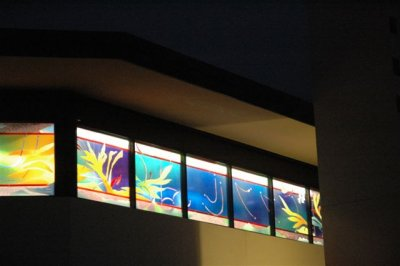 St. Barnabas' on the Desert, Scottsdale, Arizona, USA, where the windows reflect the local colors and plant life.