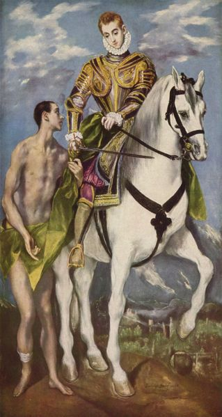 El Greco, c .1599: Martin and the Beggar. While just a catechumen, the saint used his sword to slice his military cloak in half to clothe the man. In time Martin's faith led him to a conscientious objection to war and he left the army to establish a monastery near Tours which heavily influenced Celtic monasticism. He was reluctant to accept election as Bishop and insisted on keeping to his ascetic way of life.