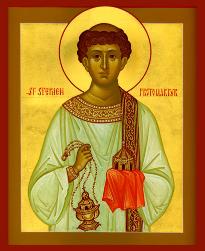 Stephen, the first Deacon and first Martyr in Christendom. The apostles' laying of their hands on Stephen and his brothers became the outward and visible sign of the sacrament of ordination. (iconographer unknown)
