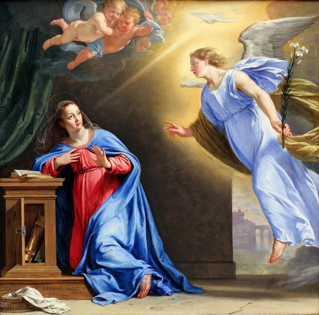 Philippe de Champaigne: Annunciation. Of all the thousands of artworks produced on this theme, this is my favorite. Not only are the colours gorgeous, Mary looks more startled than serene.