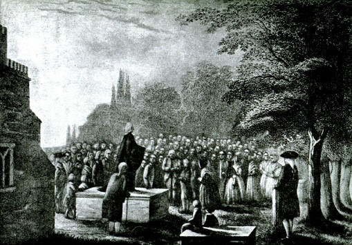 John Wesley preaching outdoors. Charles bitterly opposed John's irregular ordinations, but John felt the intractable English bishops gave him no choice. The schism between Methodists and Anglicans happened after the brothers had died.