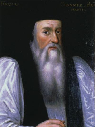 Anglicans have prayed in their native languages since 1549 because of this man, Thomas Cranmer, compiler of the Book of Common Prayer. He combined various prayers from the eight-fold monastic Liturgy of the Hours to give us Morning and Evening Prayer. He was Henry VIII's archbishop, then was put to death under Queen Mary. (artist unknown)