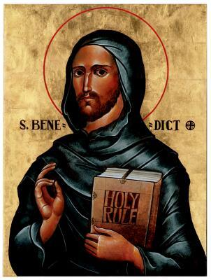 Benedict's life marks the transition from monks living by themselves - in the desert, typically - to living in community. He was a solitary monk in a cave west of Rome, who never intended to start a religious order at all; but gradually a community developed around him, so he wrote a Rule for them to live by. Religious life has remained a group effort ever since.