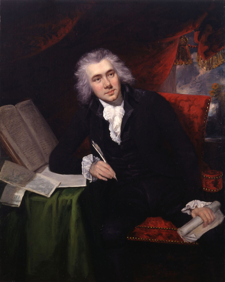 John Rising, 1790: William Wilberforce, Age 29. An evangelical Anglican, Wilberforce is known worldwide for his dogged persistence in Parliament to ban slavery; wealthy, powerful forces were arrayed against him. A lot of aristocrats made a lot of money buying and selling human beings; even political moderates with some sympathy toward abolition thought twice about prohibiting it, but for 20 years Wilberforce didn't take no for an answer, and the trade was banned in 1807. But still the nobility hung onto their New World plantations worked by unpaid labour, so Wilberforce campaigned another 26 years to abolish slavery itself; Parliament finally gave in in 1833, when he was on his deathbed.