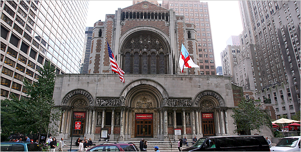 St. Bartholomew's, Park Avenue, New York. The parish was established in 1835, this is their third building, in Byzantine Revival style, completed in 1930. (source unknown)