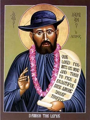 Fr. Damien wasn't originally supposed to go to Hawai'i at all, his brother was; but the brother got sick, so Damien went in his place, right at a time when leprosy (Hansen's Disease) was increasing. King Kamehameha V ordered the people to be quarantined, and they became Damien's parishioners. They were left without any help from the outside world, but he built houses, churches, an orphanage and a hospital, staying with them the rest of his life. He is the patron saint of Hawai'i, celebrated throughout the islands for simply doing what Christ said to do unto the least of his friends.