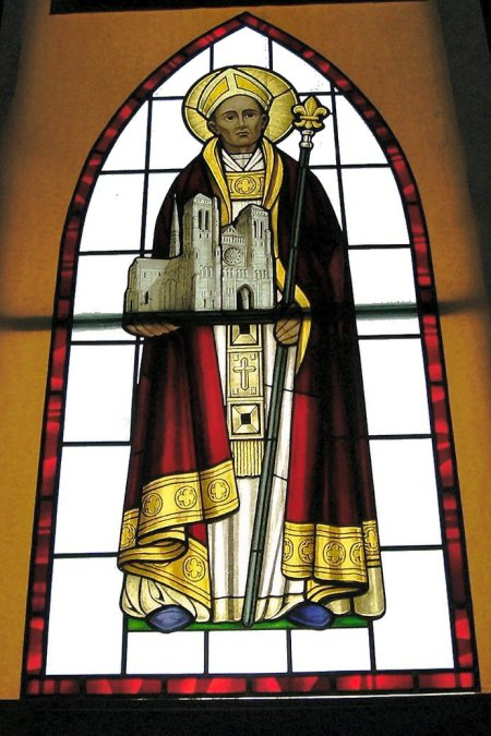St. Remigius window at St. Joan of Arc Roman Catholic Church, Powell, Ohio. He baptized Clovis, king of the united Franks, which led to the defeat of the Arian Goths and the Christianization of France. Remigius and St. Joan are the nation's patron saints.