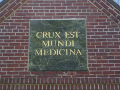 The Cross is the medicine for the world: a plaque at Holy Cross Monastery in West Park. (Josh Thomas)