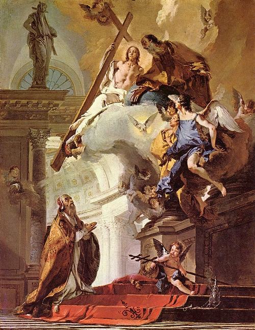 Giovanni Battista Tiepolo: St. Clement Adoring the Trinity. Clement was the third pope, whose letter to the Church in Corinth first described the clergy and people as forming a hierarchy, by which the authority of the bishops and presbyters had to be respected. Young leaders in Corinth had tried to oust the older ones, but the bishop put a stop to it.