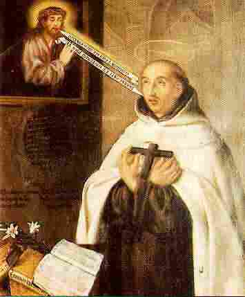 "Juan de la Cruz was a Spanish monk recruited by his friend Teresa of Avila to help reform the Carmelite Order. He devoted himself so fully to the search for God ""that he reached the peak of the mystical experience,"" according to Holy Women, Holy Men, ""a complete transformation in God."" This painting by an unknown artist has messages shooting like arrows between the Savior and the saint."