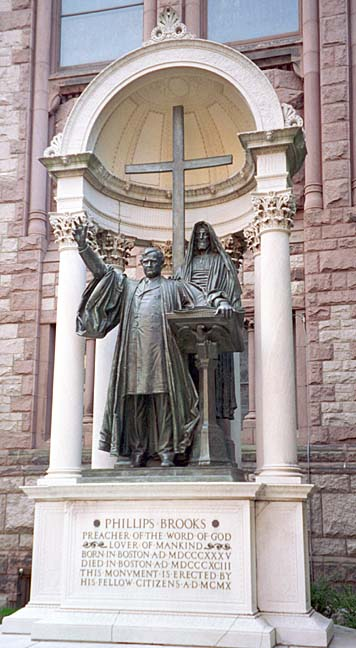 Statue of Phillips Brooks erected by fellow citizens at Trinity Church, Boston, where he served as rector for many years before being elected bishop in 1891.