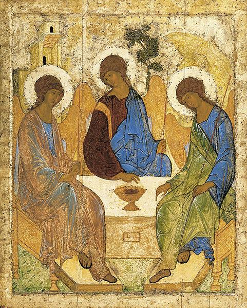 "Rublev: Angels at Mamre (the Trinity), c. 1410. The distortions, exaggerations and idealizations of icon-painting are there to provide access to the divine beyond our human ""realistic"" imagination."