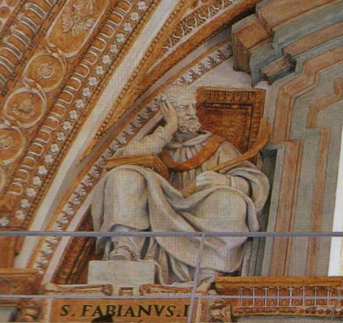 "Statue of St. Fabian at St. Peter's Basilica, Rome. Counted as the 20th pope, he set a courageous example for his followers, many of whom suffered great torment in Decius's persecution. Fragments of Fabian's tombstone still exist, with his name and the words ""bishop"" and ""martyr"" still dimly visible."