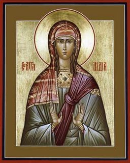 St. Lydia was St. Paul's first European convert, a dealer in purple goods and wealthy businesswoman who gave him and his companions Timothy and Silas lodging and a base of operations. At key points, independent women financed much of the early Church. (iconographer unknown)