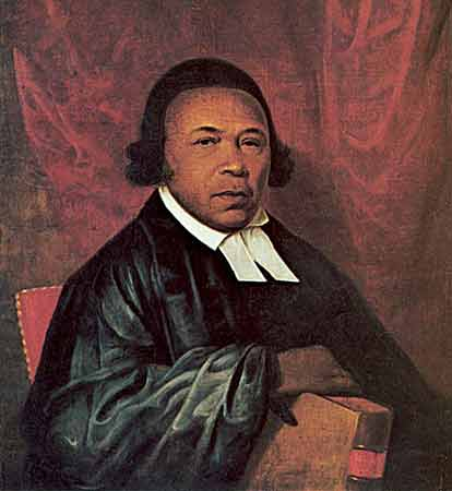 Father Absalom Jones and historic St. Thomas's African Episcopal Church never had an easy time of it. The Methodists they broke away from eventually donated land on which Jones could build his new church, but then repossessed it and charged them money to get their building back. Negotiations with Episcopal Bishop White were also fraught; White held most of the power to admit them to his diocese, but the St. Thomas congregation demanded a condition that Mr. Jones be licensed as a layreader and eventually ordained, so they could exert their own leadership. He spent many, many years as a deacon before White finally made him a priest. That legacy of resisting racism is what makes St. Thomas's a vibrant and respected parish today. (Delaware Art Museum)