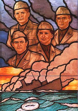 The chaplains - Catholic, Christian Reformed, Jewish and Methodist - served 902 U.S. troops sailing from New York to Greenland in World War II when their ship was hit by a German U-boat. Only two lifeboats made it to launch - most men were forced to jump into the icy water - while the chaplains remained aboard ship. They saved dozens but lost their own lives. (source unknown)