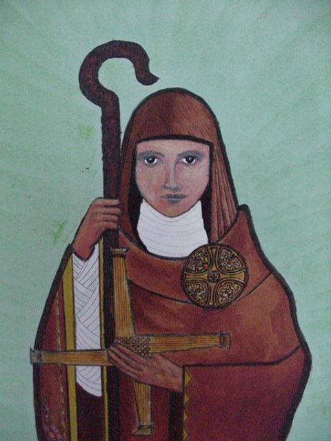 """St. Brigid of Kildare, Ireland established a """"double"""" monastery of men and women; in time a city grew up around it. She participated in Church governance as an abbess equal to a bishop, or as a bishop herself; the offices were largely the same. With St. Patrick she is one of Ireland's most beloved saints, and is similarly esteemed in England, Scotland and Wales. (artist unknown)"""
