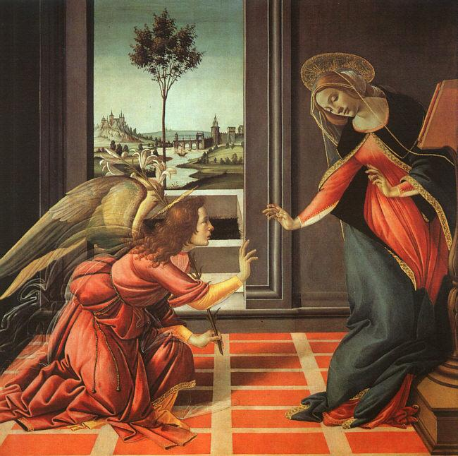 "Botticelli: Annunciation. Mary replied to Gabriel, ""Let it be to me according to your word."""