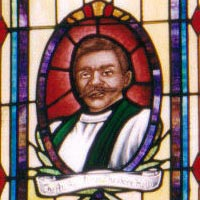Bishop Holly remembered in glass at St. Edmund's Episcopal Church, Chicago.