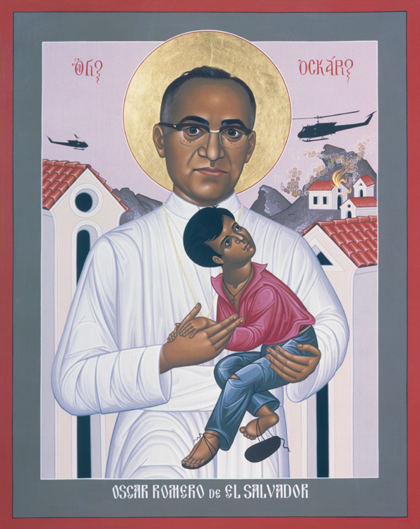 Oscar Romero, Archbishop of San Salvador, was a reliable conservative until he started seeing what the right-wing government, backed by the United States, was doing to the poor, including death squads and torture. He was shot to death while celebrating Mass near his cathedral. Nine months later four Maryknoll sisters were killed by the army, and nine Jesuit priests were murdered in 1989. (Robert Lentz)
