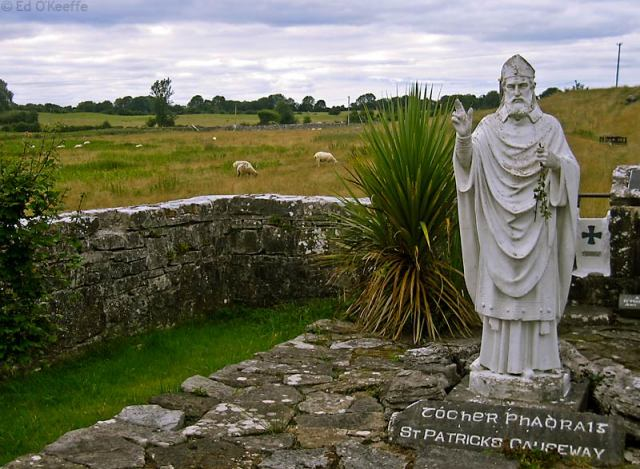 St. Patrick's Causeway, a pilgrimage trail in Ireland. This statue is at Ballintubber Abbey. (Ed O'Keeffe)