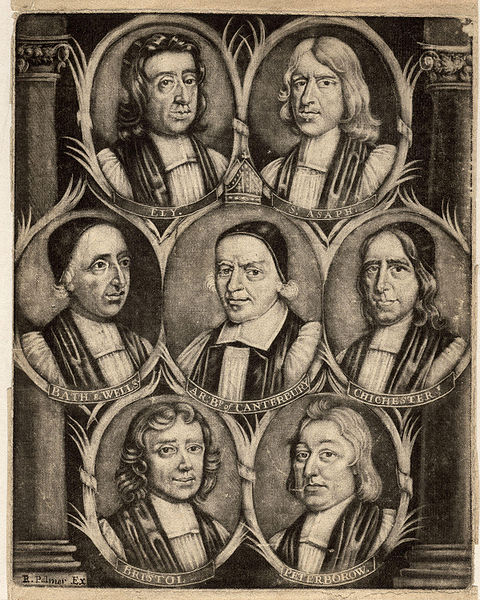 """Thomas Ken, center left, was one of """"7 Bishops Committed to the Tower"""" of London in 1688 for failing to back a plan by James II which would weaken the Church of England and increase tolerance for Roman Catholics and other dissenters. The Tower 7 were acquitted, became popular heroes, but were banished from their sees. Parliament deposed the Catholic King after only four years, bringing in his Protestant daughter Mary and her husband William of Orange, a change known as the Glorious Revolution. By this time England was determined to stay Protestant."""