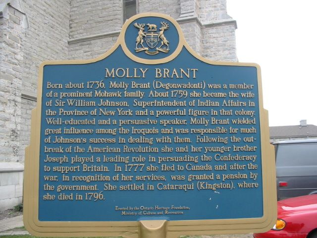Historic marker at St. Paul's, Kingston, Ontario, which Molly Brant helped to start and where she's buried.