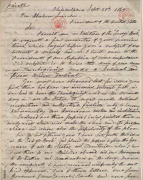 Sarah Hale's letter to Lincoln, suggesting a unified national Thanksgiving Day. She didn't originate the celebration, which had its origins in New England, but in the context of the Civil War, she nationalized it. Canada has a similar day a month earlier.