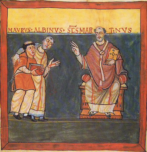 Rabanus Maurus and Alcuin of York before St. Martin of Tours