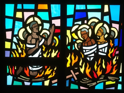 The Martyrs of Uganda were 32 young Anglican and Roman Catholic men who belonged to the court of a king who died. His successor decided that Christianity represented a threat to his rule, so he had them burned alive. The result: Uganda is officially the most Christian nation in Africa. (St. Dorothy School, Chicago)