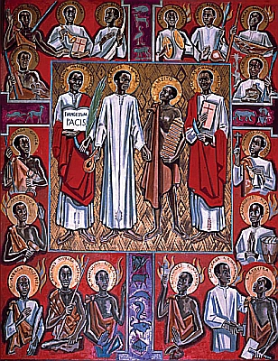Icon of the Ugandan Martyrs; 23 were Anglican, 22 were Roman. Their deaths took place during a 3-way religious rivalry with Islam and imperialist jockeying among Britain, France and Germany; Britain ended up using the Anglican deaths as a justification for annexing Uganda into the British Empire. (source unknown)