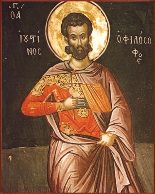 Justin was a pagan who fell into conversation one day with a man on the beach, who told him about Jesus. He became a great apologist, with three of his arguments still known and read today. He and six companions were martyred under Marcus Aurelius for refusing to sacrifice to Rome's pagan gods. (iconographer unknown)