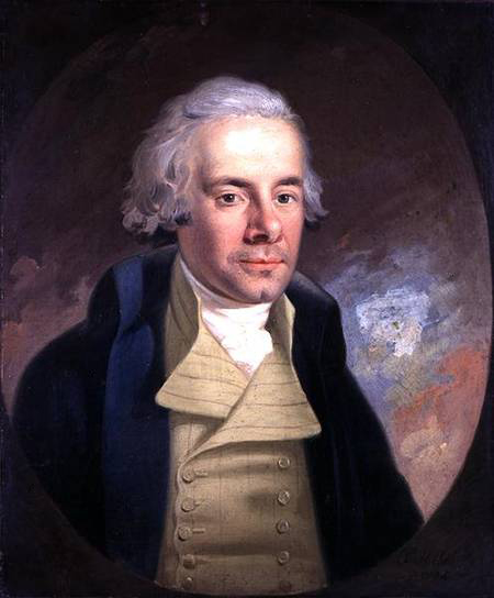 Anton Hickel, 1794: William Wilberforce. He was raised Anglican, but came under the influence of Methodists and other evangelicals at any early age, who urged him to take up the anti-slavery cause. He wasn't the first to advocate, but he became the key member of Parliament on the issue, obtaining a ban on the slave trade in 1807 and the abolition of slavery itself in most of the British Empire in 1833. He was a conservative, but he became acutely aware that the discussion was about human beings with souls as dear to God as any others; his faith was the decisive factor. (Wilberforce House)