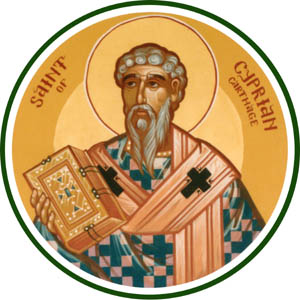 Cyprian was a wealthy, educated North African aristocrat who was skilled in public persuasion. This made him a target of Roman emperors who feared their own decline and fall. During Decius's persecution Cyprian went into hiding, then under Valerian he was beheaded. ¶ Cyprian taught that the priest, in offering the sacrifice of the Eucharist, acts in place of Christ and imitates his actions.