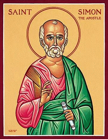 """Simon the Zealot is mentioned in the Gospels, but that's about all we really know; the rest is tradition, associating him and Jude as apostles to Persia. Accounts disagree about whether they were martyred. Nevertheless, this is a """"feast of Our Lord,"""" a major holy day; Christ himself chose these men to carry out his work. (iconographer unknown)"""
