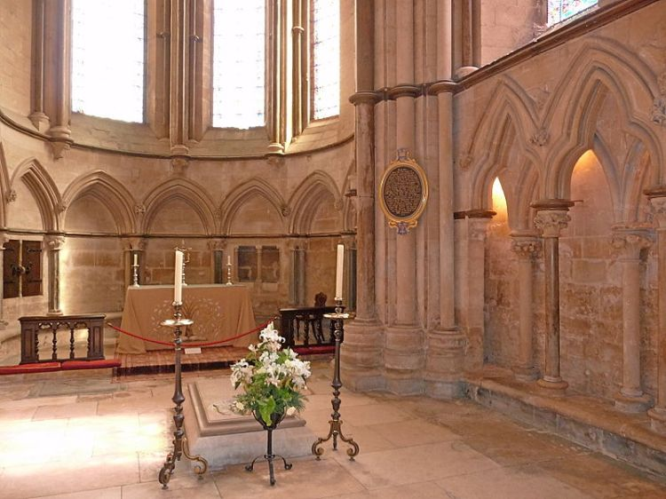 Bishop Grosseteste's chapel and tomb at Lincoln Cathedral. He was a man of enormous learning; a philosopher and theologian, mathematician and physicist whose findings presaged those of Roger Bacon. In his church work he instituted a system of visitations of all his deaneries and monasteries, which put him in conflict with the monastic Chapter of the cathedral, who thought they should run it, not the bishop. By the time it was done he'd suspended the dean, subdean and precentor. He also had a stormy relationship with Pope Innocent IV, whose financial exactions he strenuously resisted – including a demand that Grosseteste pay so the pope's nephew could set up housekeeping. When Grosseteste died he was universally mourned among the English, but the pope made sure he didn't get canonized. (Wikipedia)