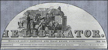 "Masthead of William Lloyd Garrison's trailblazing abolitionist newspaper The Liberator, which featured numerous essays by Maria Stewart. She was a freeborn African-American writer, speaker and teacher. Garrison published the paper for ""the immediate and complete emancipation of all slaves"" from 1831 until he could finally shut it down at the end of the Civil War in 1865."