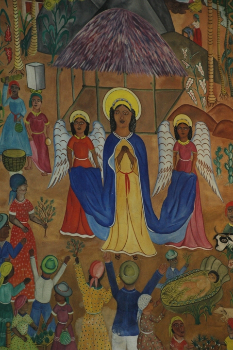 Nativity mural at the former Cathedral in Port-au-Prince, Haiti. All but one section of the mural was destroyed in the 2010 earthquake.