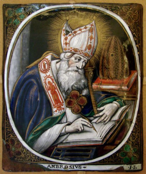 Ambrose wasn't even baptized when he was elected Bishop of Milan; he was there to mediate between riotous Christian factions, and he did it so well they picked him. He was a defender of orthodoxy and introduced antiphonal chant to the liturgy. (artist unknown)