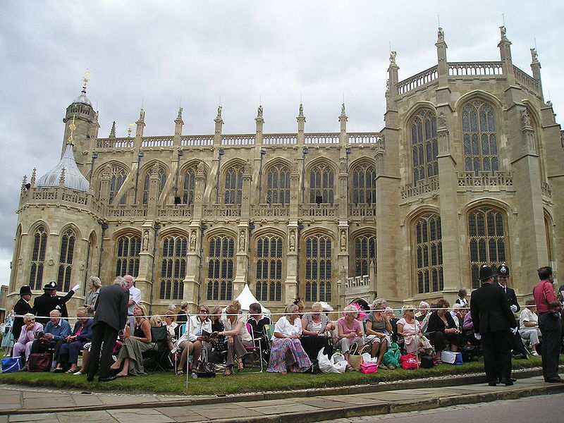 St. George's Chapel, Windsor Castle, on Garter Day 2006. It was built starting 1348, about the time the cult of St. George really took off. (Wikipedia)