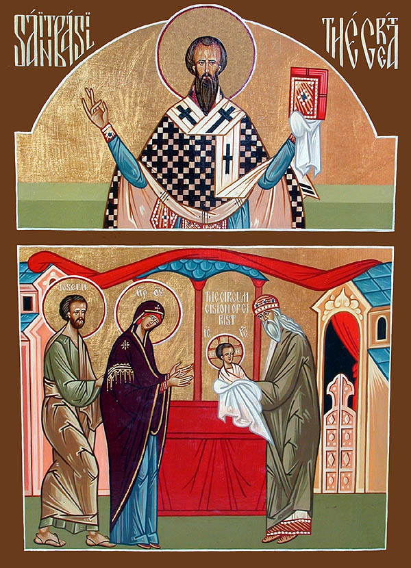Eight days after his birth, Jesus was circumcised according to Abrahamic law and given his name and identity. Above: St. Basil and the Circumcision, by Fr. John Matusiak.