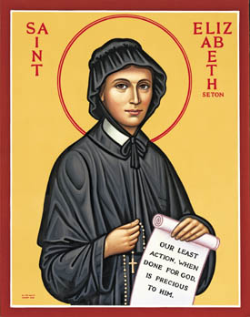 Elizabeth Seton, a devoted Episcopalian, discovered the Roman Catholic Church during a visit to Italy, where she and her husband had gone in hopes of easing his tuberculosis. But he died and she found solace from the priests there. She returned to the U.S., made a formal conversion and in 1809 founded the Sisters of Charity, the first homegrown convent; she was canonized in 1975, the first U.S.-born saint. (iconographer unknown)