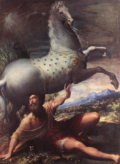 Parmagianino: Conversion of St. Paul. The persecutor of Christians was struck blind on the Damascus Road. He must have been terrified – but at least he was wise enough to begin an immediate fast.