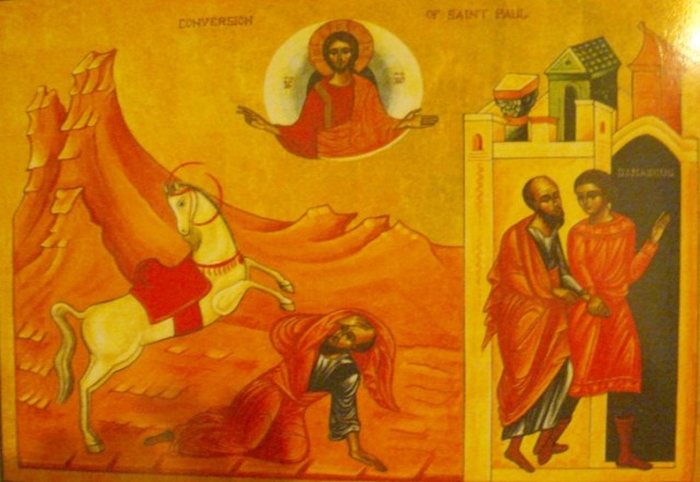Saul on the Road to Damascus; notice he doesn't have a halo. (iconographer unknown)