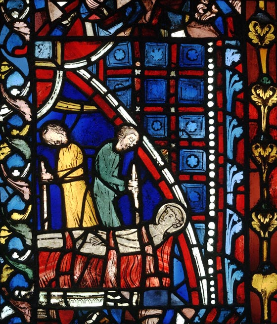 St. Vincent on the Rack, 1240-1245, at the Church of St. Germain des Prés, Paris. As deacon Vincent attended his bishop Valerius and often spoke for him; legend says the bishop had a speech impediment, and Vincent was a powerful preacher. When they were hauled before the governor during a persecution by the Roman emperor, Vincent defied the governor with an enthusiastic defense of the Christian faith. (Victoria and Albert Museum, London)