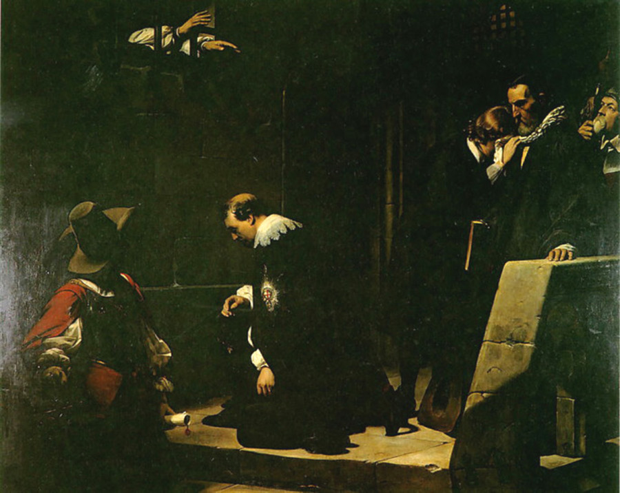 Paul de la Roche, 1836: Archbishop Laud Blessing the Earl of Strafford. Strafford, like Laud, was a close advisor to King Charles I, and was condemned to death by the Puritans who controlled Parliament. All three of them would eventually suffer the same fate. The English Civil War was both a secular and a religious struggle; how Protestant or Catholic England would be, whether freedom or uniformity of religion was more important for the survival of the state, and who got to decide, Parliament or the King? Cromwell and Parliament won the war, but couldn't maintain a government after Cromwell's death. The two sides needed each other, and eventually monarchy was restored but limited, laying the framework for the modern British state.