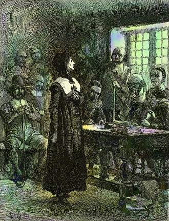 Edwin Austin Abbey, 1901: Anne Hutchinson on Trial. This American colonist was an advocate for women's equality against the dominant Puritans of New England. She held Bible studies in her home and was convicted as a dangerous dissenter in a Massachusetts court by Gov. John Winthrop, who banished her from the colony. She moved to the wilds of Bronx, New York and five years later was murdered by Indians with most of her family.
