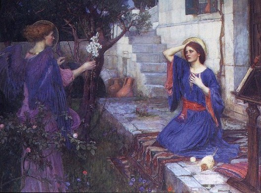 """The Holy Spirit will come upon you, and the power of the Most High will overshadow you; therefore the child to be born will be holy; he will be called Son of God."" (John William Waterhouse, 1914)"