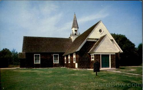 "Postcard view of the Shinnecock Presbyterian Church, Hampton Bays, Long Island, New York, established by the Rev. Paul Cuffee, a Presbyterian minister and Pequot Indian who was instrumental not only in conversion of these Native Americans to Christianity, but in preserving a portion of their lands and their way of life from encroaching Whites. They called him ""Priest Paul."""